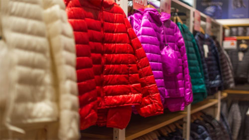 Down Jackets in a Shop